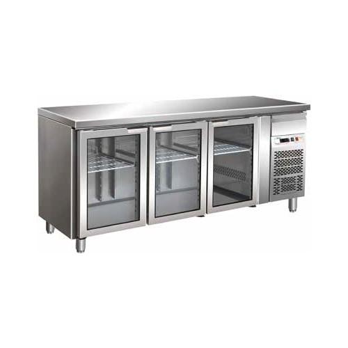 Tavolo frigorifero frigor frigo 3 porte vetrina cm 179x70x85 +2 +8 ...