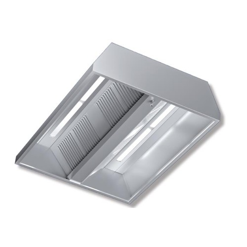 Restaurant Kitchen Without Hood: Hood 180x130x45 Stainless Steel Central Neutral Lights