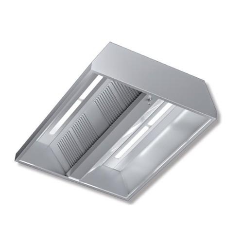 Cappa 240x220x45 acciaio inox centrale neutra luci cucina for Cappa acciaio
