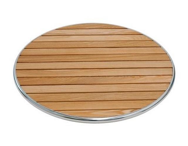 Piano tavolo per esterno D 70 in legno e alluminio RS8661