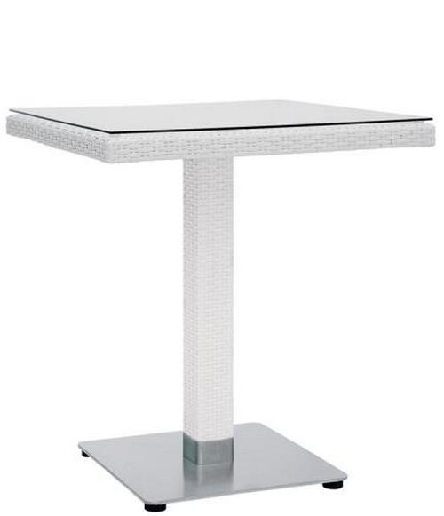 Tavolo per esterno 70x70x75 in alluminio polietilene colore bianco vetro e  acciaio RS8853